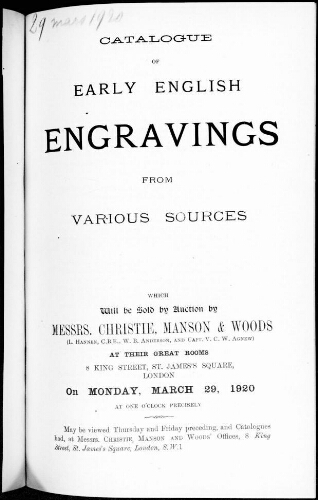 Catalogue of early english engravings from various sources [...] : [vente du 29 mars 1920]