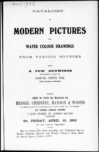 Catalogue of modern pictures and water colour drawings from various sources, also a few drawings [...] : [vente du 21 avril 1922]