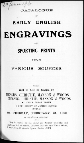 Catalogue of early english engravings and sporting print [...] : [vente du 24 février 1920]