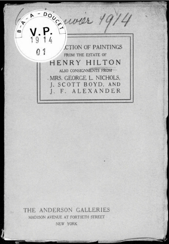 Collection of modern paintings by American and foreign artists [...] : [vente du 6 janvier 1914]