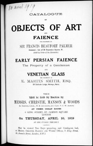 Catalogue of objects of art and faience [...] : [vente du 10 avril 1919]
