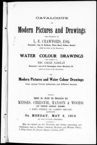 Catalogue of modern pictures and drawings [...] : [vente du 4 mai 1914]