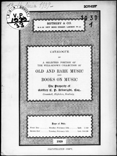Catalogue of a selected portion of the well-known collection of old and rare music and books on music […] : [vente du 13 février 1939]