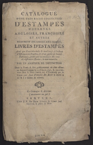 Catalogue d'une très riche collection d'estampes modernes anglaises, françaises […] : [vente du 10 avril 1792]