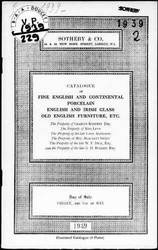 Catalogue of a collection of fine English and continental porcelain […] : [vente du 5 mai 1939]