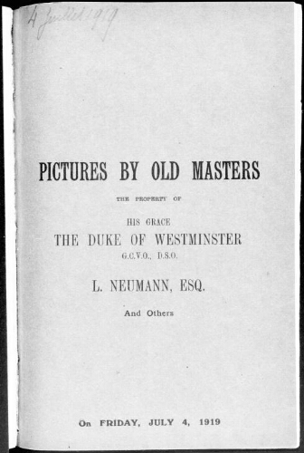 Catalogue of the highly important collection of pictures by Dutch masters [...] : [vente du 4 juillet 1919]