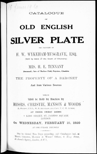 Catalogue of old english silver plate [...] : [vente du 18 février 1920]