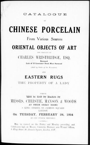 Catalogue of Chinese porcelain from various sources [...] : [vente du 24 février 1914]