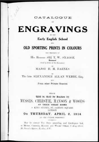 Catalogue of engravings of the early English school [...] : [vente du 2 avril 1914]