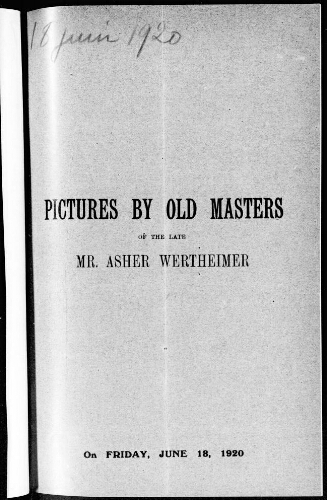 Catalogue of the remaining stock of pictures by old masters [...] : [vente du 18 juin 1920]