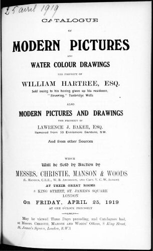 Catalogue of modern pictures and water colour drawings [...] : [vente du 25 avril 1919]