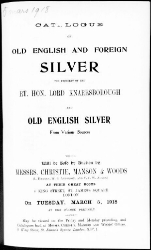 Catalogue of old English and foreign silver […] : [vente du 5 mars 1918]
