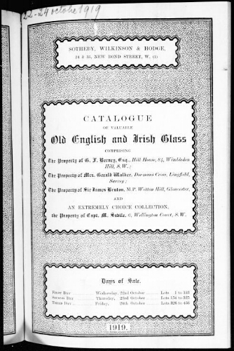 Catalogue of valuable old English and Irish glass […] : [vente du 22 octobre 1919]