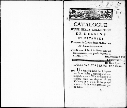 Catalogue d'une belle collection de dessins et estampes provenant du cabinet de feu M. Collet de Langloischere [...] : [vente du 24 avril 1775]