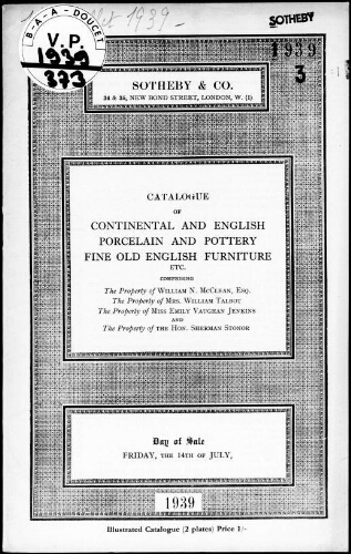 Catalogue of continental and English porcelain and pottery […] : [vente du 14 juillet 1939]