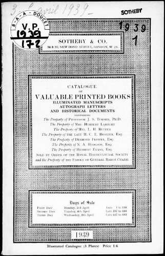 Catalogue of valuable printed books, illuminated manuscripts, autograph letters and historical documents […] : [vente du 3 avril 1939]