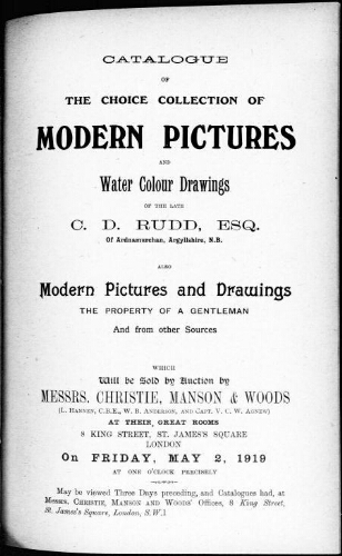 Catalogue of the choice collection of paintings and water colour drawings [...] : [vente du 2 mai 1919]