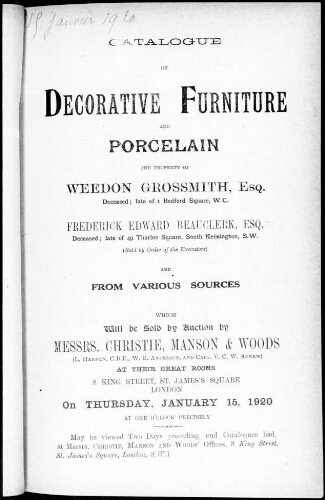 Catalogue of decorative furniture and porcelain the property of Weedon Grossmith, esquire [...] : [vente du 15 janvier 1920]