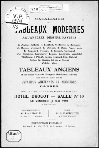 Catalogue des tableaux modernes, aquarelles, dessins, pastels [...] : [vente du 2 mai 1919]