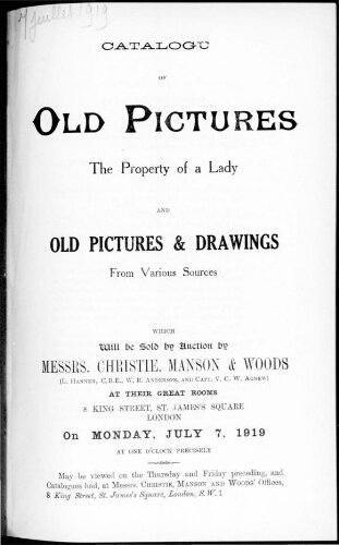 Catalogue of old pictures […] : [vente du 7 juillet 1919]