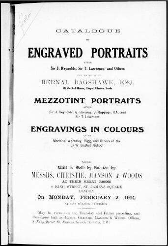 Catalogue of engraved portraits after Sir J. Reynolds, Sir T. Lawrence, and others [...] : [vente du 2 février 1914]