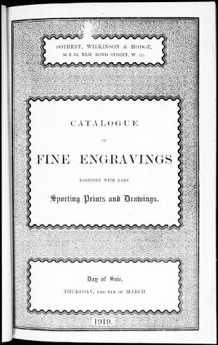 Catalogue of fine engravings together with rare sporting prints and drawings [...] : [vente du 6 mars 1919]
