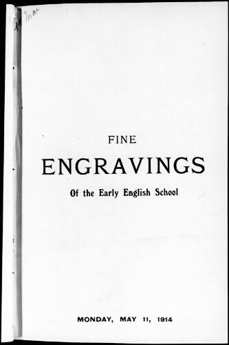 Catalogue of a choice collection of engravings of the early English school [...] : [vente du 11 mai 1914]