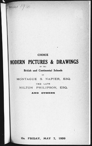 Catalogue of choice modern pictures of the British and continental schools [...] : [vente du 7 mai 1920]