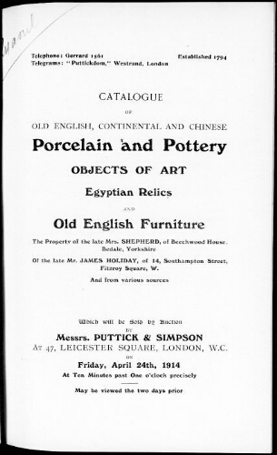 Catalogue of old English, continental and Chinese porcelain and pottery [...] : [vente du 24 avril 1914]