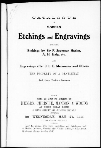 Catalogue of modern etchings and engravings […] : [vente du 27 mai 1914]
