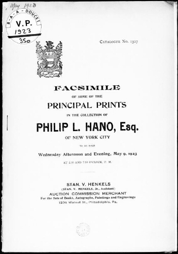 Facsimile of some of the principal prints in the collection of Philip L. Hano, Esq. [...] : [vente du 9 mai 1923]